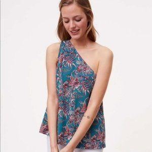 nwt Ann Taylor Loft Iris one shoulder blouse l